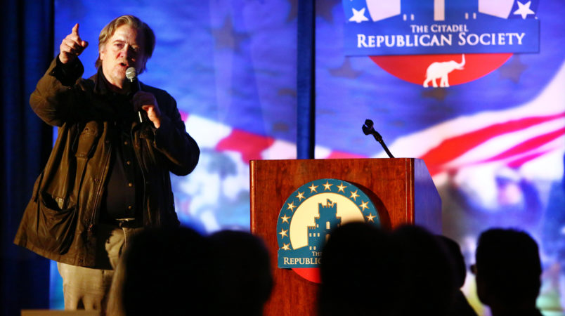 Steve Bannon, the former chief strategist to President Donald Trump, speaks during an event at The Citadel in Charleston, S.C., Friday, Nov. 10, 2017. (Wade Spees/The Post and Courier)