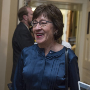 UNITED STATES - NOVEMBER 14: Sen. Susan Collins, R-Maine,  speaks with the media after the Senate Policy luncheons in the Capitol on November 14, 2017.(Photo By Tom Williams/CQ Roll Call)