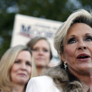 Kayla Moore, wife if former Alabama Chief Justice and U.S. Senate candidate Roy Moore, speaks at a press conference, Friday, Nov. 17, 2017, in Montgomery, Ala. (AP Photo/Brynn Anderson)