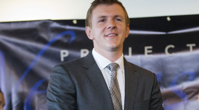 James O'Keefe, President of Project Veritas Action, waits to be introduced during a news conference at the National Press Club in Washington, Tuesday, Sept. 1, 2015. (AP Photo/Pablo Martinez Monsivais)