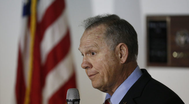 Former Alabama Chief Justice and U.S. Senate candidate Roy Moore speaks at  a campaign rally, Monday, Nov. 27, 2017, in Henagar, Ala. (AP Photo/Brynn Anderson)