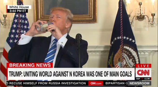 Donald Trump Halts White House Address To Drink Water & It's Awkward AF