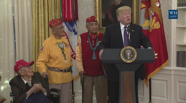 Trump just made a fauxcahontas Warren joke to Native Americans