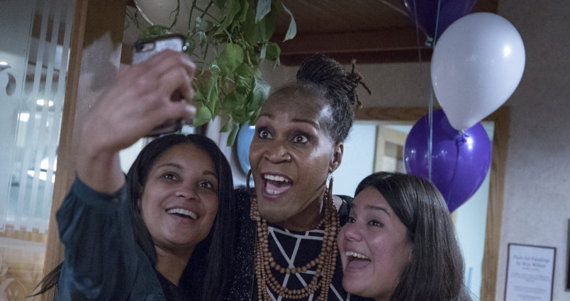 Deebaa Sirdar (left) and Sara Lopez (right) took a selfie with Andrea Jenkins. Jenkins, is the first transgender woman of color elected to public office. ] CARLOS GONZALEZ • cgonzalez@startribune.com - November 2, 2017, Minneapolis, MN - Third Ward city council race -