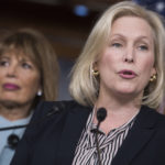 UNITED STATES -  NOVEMBER 15: Sen. Kirsten Gillibrand, D-N.Y., right, and Rep. Jackie Speier, D-Calif., hold a news conference in the House studio to introduce legislation that aims to address and prevent sexual harassment for Capitol Hill staff on November 15, 2017. (Photo By Tom Williams/CQ Roll Call)