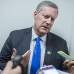 UNITED STATES - JULY 28: Rep. Mark Meadows, R-N.C., leaves a meeting of the House Republican Conference in the Capitol on July 28, 2017. (Photo By Tom Williams/CQ Roll Call)
