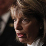 FILE - In this Aug. 30, 2011 file photo, Rep. Jackie Speier, D-Calif., talks to reporters in Washington. A divided Armed Services Committee, in which Speier is a member, backed the provision in a sweeping defense policy bill that the full House will consider next month, touching off a provocative debate about the role of women in the military.(AP Photo/Charles Dharapak, File)