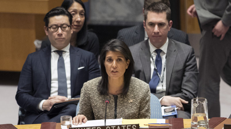 American Ambassador to the United Nations Nikki Haley speaks during a Security Council meeting on the situation in North Korea, Wednesday, Nov. 29, 2017 at United Nations headquarters.  (AP Photo/Mary Altaffer)