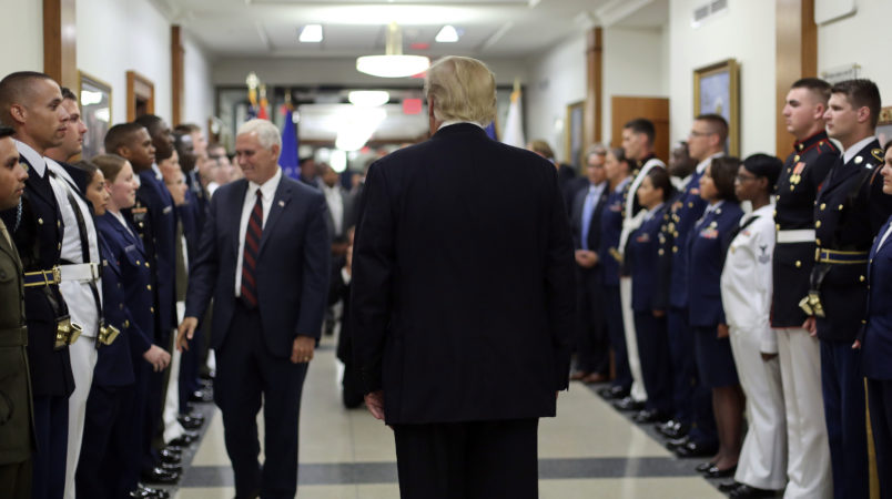 President Donald Trump and Vice President Mike Pence greet military personnel during their visit to the Pentagon, Thursday, July 20, 2017. (AP Photo/Pablo Martinez Monsivais)