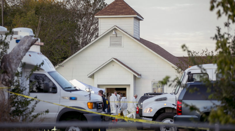 Investigators work at the scene of a mass shooting at the First Baptist Church in Sutherland Springs on Sunday November 5, 2017.  (AP Photo/Austin American-Statesman, Jay Janner)