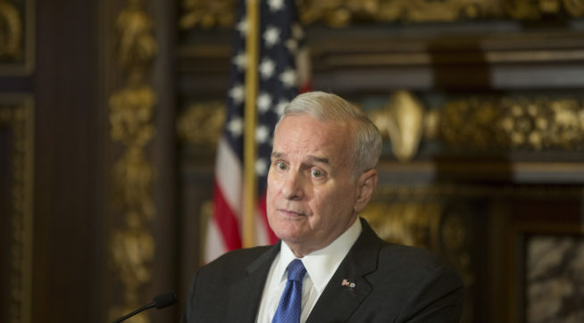 Governor Mark Dayton spoke about latest developments in the Justine Damond shooting at the capitol Wednesday July 19, 2017 in St. Paul, MN. ] JERRY HOLT • jerry.holt@startribune.com