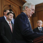 Senate Majority Leader Mitch McConnell, R-Ky., center, walks up to the podium as he is joined by from l-r., Rep. Kevin Brady, R-Texas, Speaker of the House Paul Ryan, R-Wis., Rep. David Schweikert, R-Ariz., and Charles Grassley, R-Iowa, as they meet with reporters to announce the Republicans' proposed rewrite of the tax code for individuals and corporations, at the Capitol in Washington, Wednesday, Sept. 27, 2017. President Donald Trump and congressional Republicans are writing a far-reaching, $5-trillion plan they say would simplify the tax system and nearly double the standard deduction used by most Americans. (AP Photo/Pablo Martinez Monsivais)
