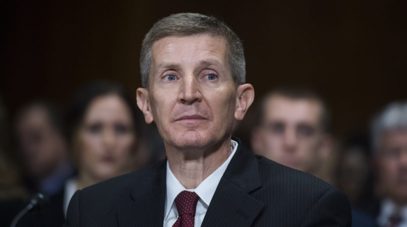 UNITED STATES - NOVEMBER 01: Leonard Steven Grasz, nominee to be U.S. circuit judge for the Eighth Circuit, testifies during a Senate Judiciary Committee nomination hearing in Dirksen Building on November 1, 2017. (Photo By Tom Williams/CQ Roll Call)