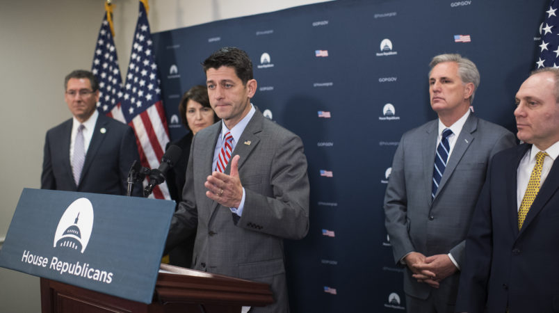 UNITED STATES - NOVEMBER 29: Speaker Paul Ryan, R-Wis., conducts a news conference after the House Republican Conference meeting in the Capitol on November 29, 2017. Also appearing are, from left, Reps. Gregg Harper, R-Miss., Cathy McMorris Rodgers, R-Wash., House Majority Leader Kevin McCarthy, R-Calif., and House Majority Whip Steve Scalise, R-La.. (Photo By Tom Williams/CQ Roll Call)