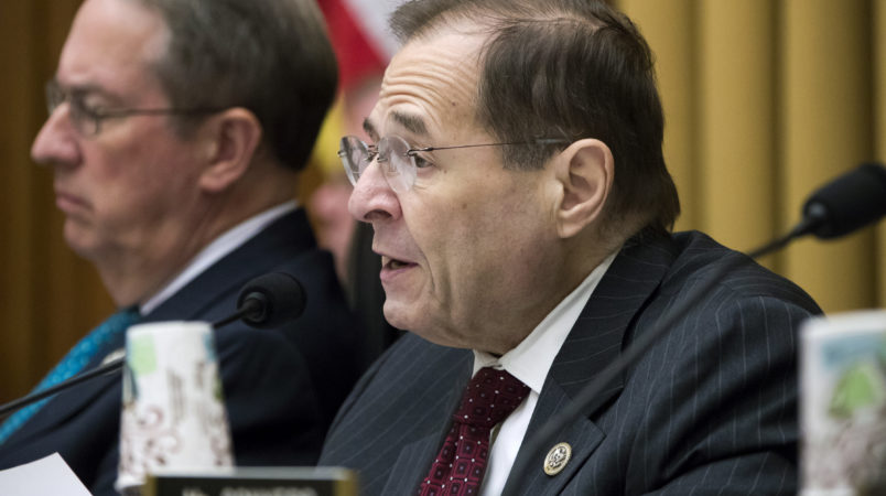 Rep. Jerrold Nadler, D-N.Y., joined at left by House Judiciary Committee Chairman Bob Goodlatte, R-Va., makes a statement as the Republican-controlled panel crafts a bill to expand gun owners' rights, the first gun legislation since mass shootings in Las Vegas and Texas killed more than 80 people, on Capitol Hill in Washington, Wednesday, Nov. 29, 2017. Rep. Nadler, whose district includes parts of Manhattan and the Bronx in New York, becomes the ranking member on the Judiciary Committee, a position which was vacated by Rep. John Conyers, D-Mich., amid a congressional investigation of sexual harassment.  (AP Photo/J. Scott Applewhite)