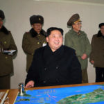 29日、大陸間弾道ミサイル(ICBM)「火星15」型の試射を視察する金正恩朝鮮労働党委員長(朝鮮中央通信=朝鮮通信)