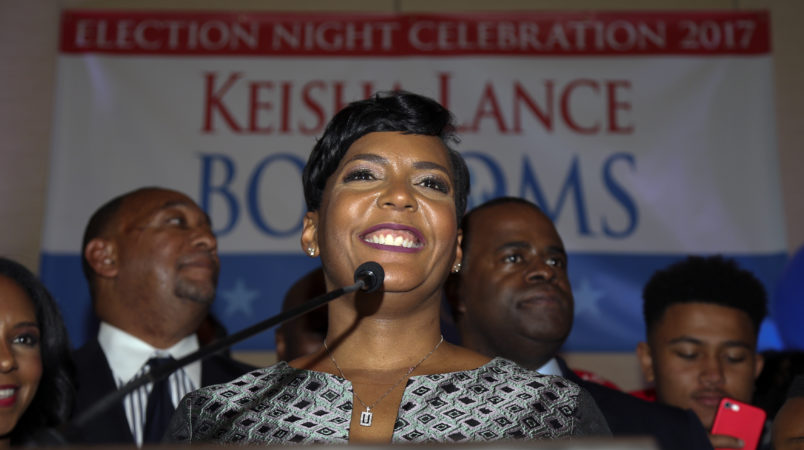 Atlanta mayoral candidate Keisha Lance Bottoms declares victory during an election-night watch party Wednesday, Dec. 6, 2017, in Atlanta. (AP Photo/John Bazemore)