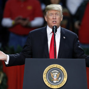 President Donald Trump speaks during a rally in Pensacola, Fla., Friday, December 8, 2017. (AP Photo/Jonathan Bachman)