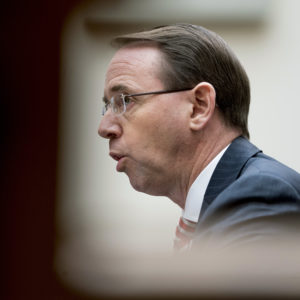 "Deputy Attorney General Rod Rosenstein speaks before a House Committee on the Judiciary oversight hearing on Capitol Hill, Wednesday, Dec. 13, 2017 in Washington. Two FBI officials who would later be assigned to the special counsel's investigation into Donald Trump's presidential campaign described him with insults like ""idiot"" and ""loathsome human"" in a series of text messages last year, according to copies of the messages released Tuesday. (AP Photo/Andrew Harnik)"