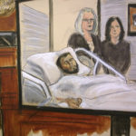 In this court room drawing, defendant Akayed Ullah is seen on a video monitor from his hospital room, joined by his attorneys, federal defenders Amy Gallicchio, left and Juliet Gatto, Wednesday, Dec. 13, 2017 in New York. On the bench at left and on the video monitor at right is Magistrate Judge Katherine Parker. Ullah, 27, is accused of detonating a pipe bomb that was strapped to his body on Monday, Dec. 11, 2017, in a pedestrian tunnel linking two busy subway stations near New York City's Port Authority bus terminal. Only he was seriously injured. (Elizabeth Williams via AP)