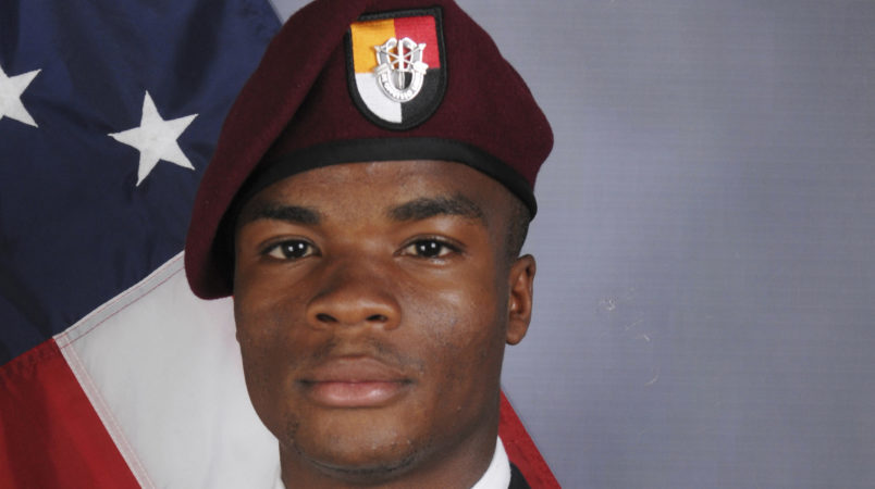 "This photo provided by the U.S. Army Special Operations Command shows Sgt. La David Johnson, who was killed in an ambush in Niger. President Donald Trump told Johnson's widow, Myeshia Johnson, that her husband ""knew what he signed up for,"" according to Rep. Frederica Wilson, who said she heard part of the conversation on speakerphone. In a Wednesday morning tweet, Trump said Wilson's description of the call was ""fabricated."" (U.S. Army Special Operations Command via AP)"