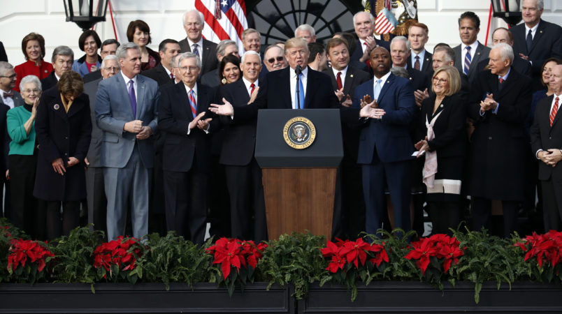President Donald Trump speaks during a bill passage event on the South Lawn of the White House in Washington, Wednesday, Dec. 20, 2017, to acknowledge the final passage of tax cut legislation by congress. (AP Photo/Carolyn Kaster)