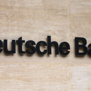 Brexit. File photo dated 26/09/16 of a Deutsche Bank office in London, as the chief executive of the bank has said Frankfurt is now battling New York and Singapore for UK banking jobs in the run-up to Brexit, having already emerged as a clear winner among its European peers. Issue date: Wednesday September 6, 2017. John Cryan said that while financial hubs like Paris, Amsterdam and Dublin would undoubtedly benefit from the UK's post-Brexit exodus, none have the infrastructure to take a large portion of business from London. See PA story CITY DeutscheBank. Photo credit should read: Philip Toscano/PA Wire URN:32679622