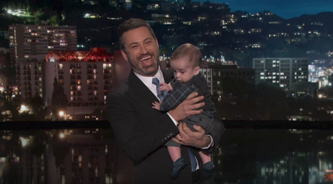 Late-night host Jimmy Kimmel holds son, pleads for health care