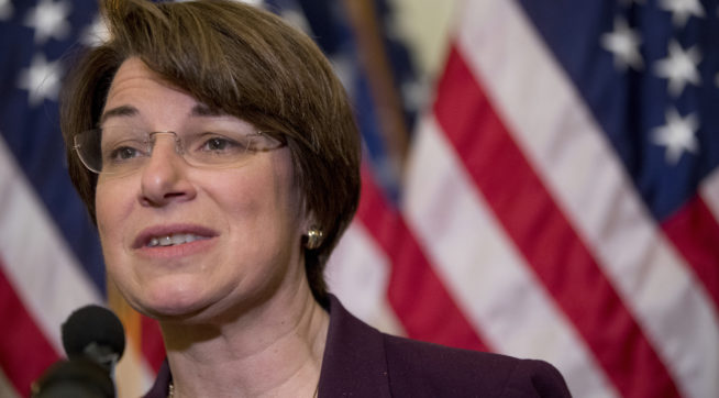 """Sen. Amy Klobuchar, D-Minn., speaks at a news conference on American labor on Capitol Hill in Washington, Wednesday, Nov. 1, 2017. Trump said on Twitter that the driver in Tuesday's attack """"came into our country through what is called the 'Diversity Visa Lottery Program,' a Chuck Schumer beauty"""" — a reference to the Senate's Democratic leader. (AP Photo/Andrew Harnik)"""
