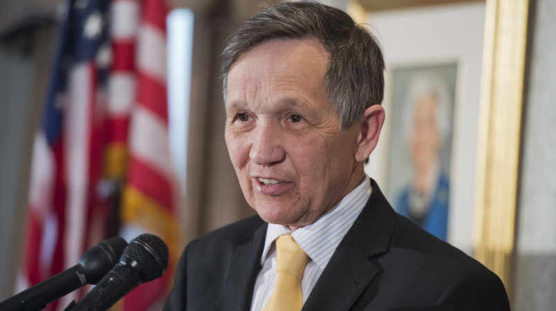 UNITED STATES - APRIL 17: Former Rep. Dennis Kucinich, D-Ohio, speaks at an event at the Capitol Hill Club to launch of the Ron Paul Institute for Peace and Prosperity. (Photo By Tom Williams/CQ Roll Call)