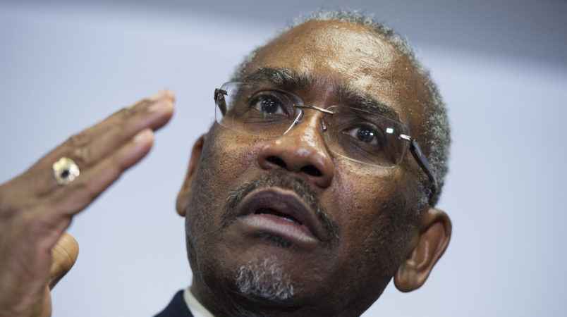 UNITED STATES - FEBRUARY 11: Rep. Gregory Meeks, D-N.Y., chairman of the Congressional Black Caucus PAC, conducts a news conference at the DNC where members of the CBC PAC endorsed Hillary Clinton for president, February 11, 2016. (Photo By Tom Williams/CQ Roll Call)