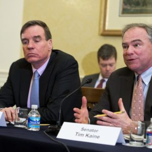 UNITED STATES - APRIL 13: Sens. Tim Kaine, D-Va., and Mark Warner, D-Va., attend a meeting with Paul Wiedefeld, General Manager of the D.C. Metro, during a discussion about the safety of the system, April 13, 2016. Sens. Barbara Mikulski, D-Md., and Ben Cardin, D-Md., also attended. (Photo By Tom Williams/CQ Roll Call)