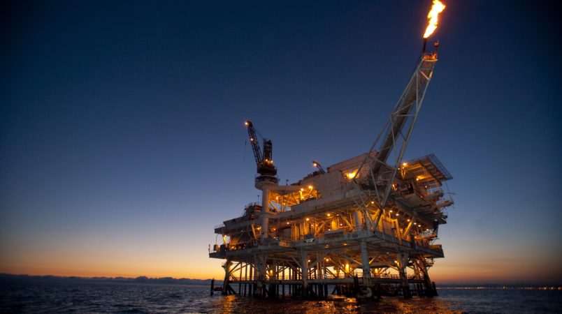 Gas is flared off from a flame boom aboard offshore oil and gas platform Edith in the Beta Field off the coast of Long Beach, California, U.S.  Senators from California, Oregon and Washington introduced legislation to ban offshore oil drilling off the West Coast amid mounting concern about the BP Deepwater Horizon rig spill spreading in the Gulf of Mexico.