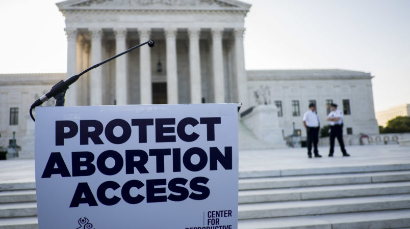 WASHINGTON, DC - June 27:  A podium awaits pro-choice speakers in front of the U.S. Supreme Court  on June 27, 2016 in Washington, DC. A ruling is expected in Whole Woman's Health v. Hellerstedt, a Texas case the places restrictions on abortion clinics, as well as rulings in the former Virginia Governor's corruption case and a gun rights case. (Photo by Pete Marovich/Getty Images)