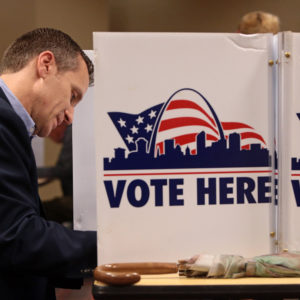 Republican gubernatorial candidate Eric Greitens makes his ballot selections on Tuesday, Nov. 8, 2016 at the St. Louis Public Library Schlafly branch in St. Louis, Mo. (Cristina M. Fletes/St. Louis Post-Dispatch/TNS)