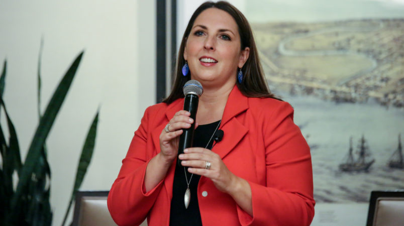 """Ronna Romney McDaniel, then chairwoman of the Michigan Republican Party, leads a panel of Republican women to discuss the topic """"All Issues are Women's Issues,"""" at the Sheraton hotel on Sept. 19, 2016 in Novi, Mich. (Kimberly P. Mitchell/Detroit Free Press/TNS)"""