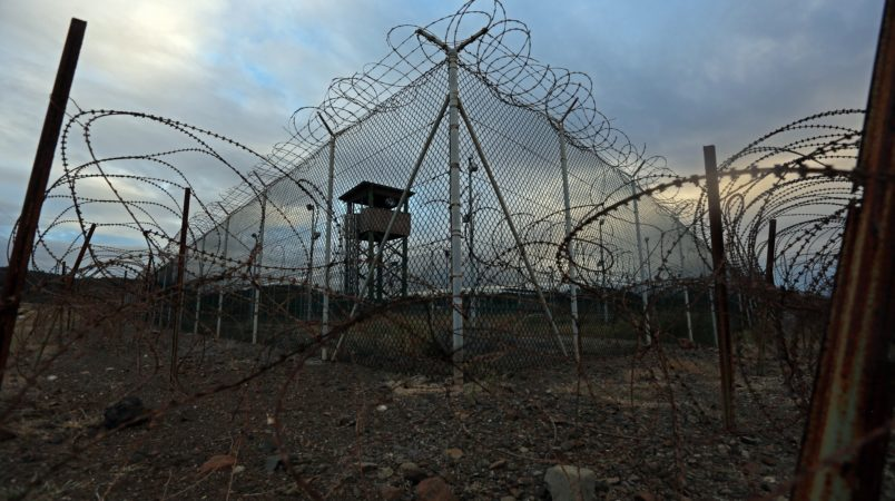 An unstaffed tower in an abandoned portion of Guantanamo's Detention Center Zone on February 12, 2017. The military approved release of this photo. (Emily Michot/Miami Herald/TNS)