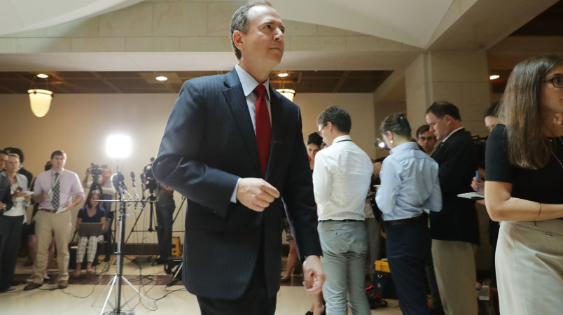 House Intelligence Committee ranking member Rep. Adam Schiff (D-CA) speaks to reporters about the recent disclosure of a meeting between Donald Trump, Jr. and a Russian lawyer during the presidential campaign in the Capitol Visitors Center July 11, 2017 in Washington, DC. Schiff said it was troubling that the Trump campaign did not tell the FBI that a Kremlin-connected Russian lawyer reached out to them with an offer of information that would help their campaign against Hillary Clinton.