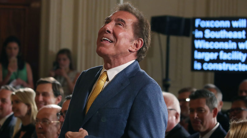 "WASHINGTON, DC - JULY 26:  Steve Wynn, CEO of Wynn Resorts, is acknowledged at a news conference held by U.S. President Donald Trump in the East Room of the White House July 26, 2017 in Washington, DC. The president was touting a decision by Apple supplier Foxconn to invest $10 billion to build a factory in Wisconsin that produces LCD panels. Foxconn said the project would create 3,000 jobs, with the ""potential"" to generate 13,000 new jobs, according to published reports.  (Photo by Mark Wilson/Getty Images)"