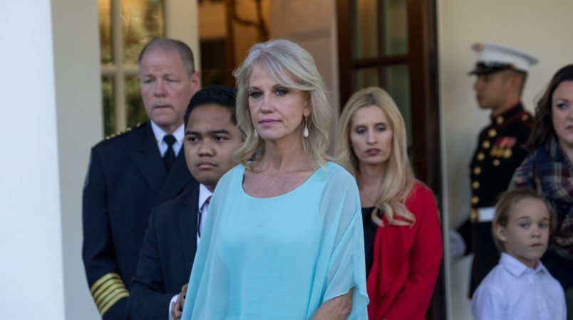 White House counselor Kellyanne Conway, stands by as reporters speak to attendees of the event combatting drug demand and the opioid crisis, outside the West Wing of the White House, on Thursday October 26th, 2017. (Photo by Cheriss May/NurPhoto)