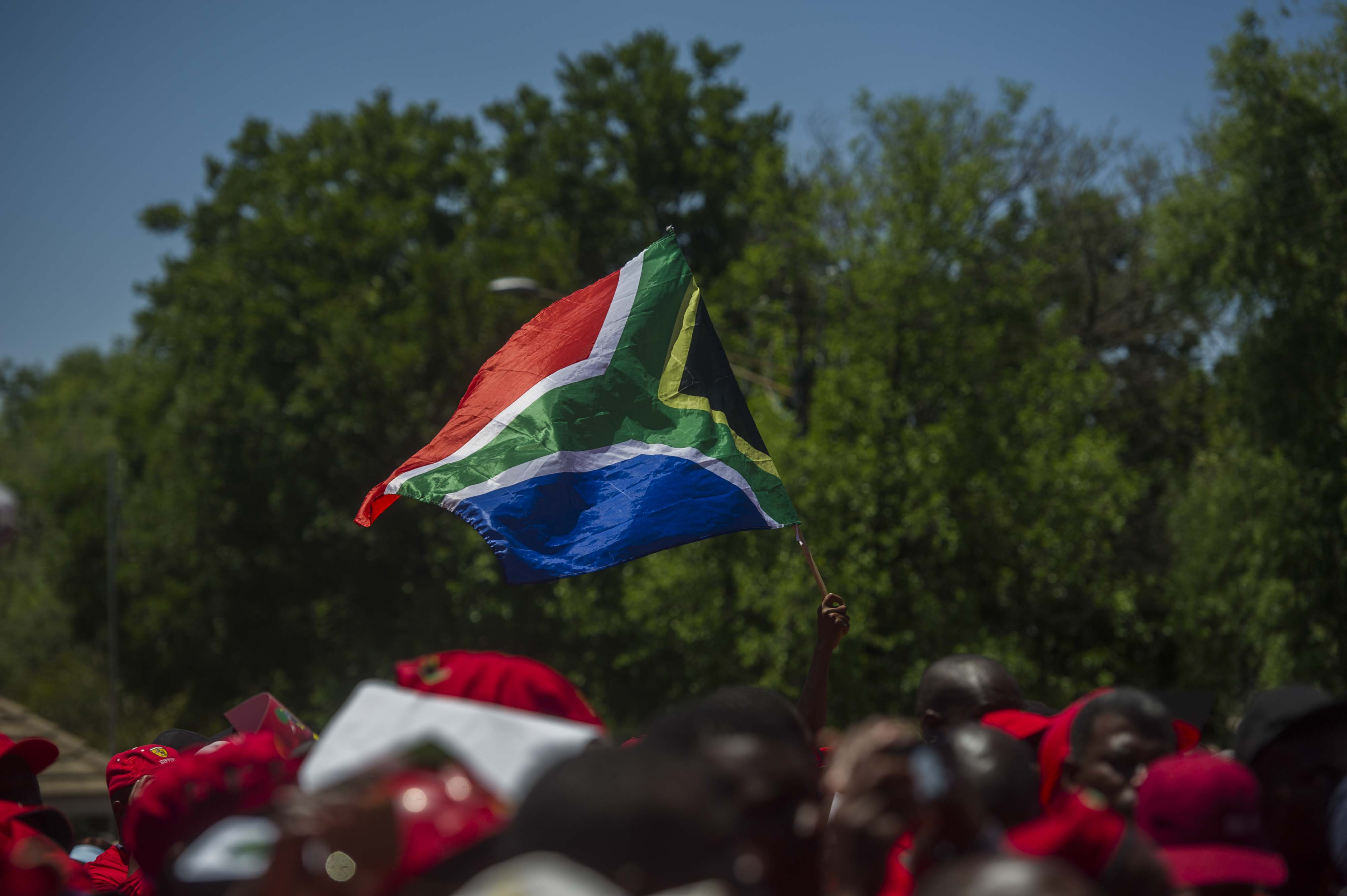 TSHWANE, SOUTH AFRICA – NOVEMBER 02, 2017: (SOUTH AFRICA OUT): EFF marched to the Isreali embassy in Pretoria today in solidarity with the Palestinians on November 02, 2017 in Pretoria, South Africa. (Photo by Alet Pretorius/Gallo Images/Getty Images)