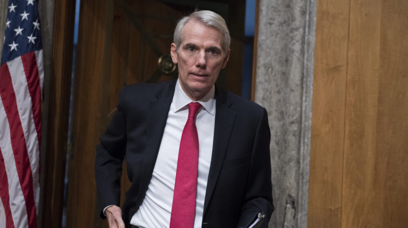 UNITED STATES -  NOVEMBER 08: Sen. Rob Portman, R-Ohio, arrives to introduced Kirstjen Nielsen, Homeland Security Department secretary nominee, during her Senate Homeland Security and Governmental Affairs Committee confirmation hearing in Dirksen Building on November 8, 2017. Sen. Marco Rubio, R-Fla., also introduced her. (Photo By Tom Williams/CQ Roll Call)