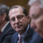 UNITED STATES - JANUARY 09: Tommy Thompson, right, former Health and Human Services secretary, introduces Alex Azar, center, nominee to be HHS secretary, during Azar's Senate Finance Committee confirmation hearing in Dirksen Building on January 9, 2018. Mike Leavitt, former HHS secretary, appears at far left. (Photo By Tom Williams/CQ Roll Call)
