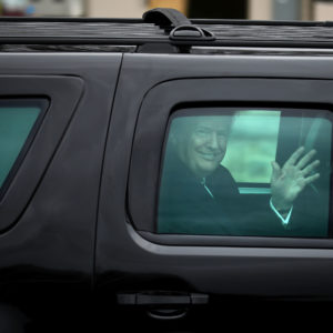 U.S. President Donald Trump leaves Walter Reed National Military Medical Center following his annual physical examination January 12, 2018 in Bethesda, Maryland. Trump will next travel to Florida to spend the Dr. Martin Luther King Jr. Day holiday weekend at his Mar-a-Lago resort.