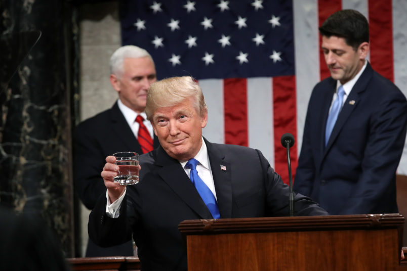 during the State of the Union address in the chamber of the U.S. House of Representatives January 30, 2018 in Washington, DC. width=