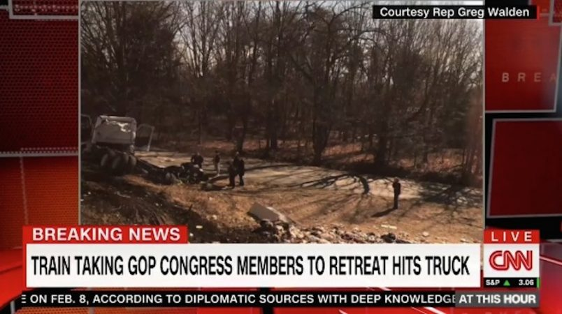 1 killed when train carrying GOP lawmakers strikes garbage truck