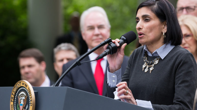 Seema Verma, Administrator of the Centers for Medicare and Medicaid Services under the Trump Administration, speaks at President Trump's press conference with members of the GOP, on the passage of legislation to roll back the Affordable Care Act, in the Rose Garden of the White House, On Thursday, May 4, 2017. (Photo by Cheriss May/NurPhoto)