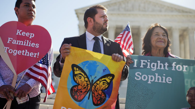 UNITED STATES - APRIL 18: Rep. Ruben Gallego, D-Ariz., center, and Dolores Huerta, right, attend rally outside of the Supreme Court as oral arguments are heard on President Obama's executive actions which would help defer deportation for undocumented people, April 18, 2016. (Photo By Tom Williams/CQ Roll Call)