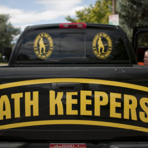 "A pickup of  an Oath Keeper from Idaho in Bozeman, Montana. The ""Oath Keepers"" are a national, ultra-rightwing ""Patriot"" group comprised of former and active military, police and public safety personnel who have taken an oath to ""uphold the Constitution"" and to refuse to follow orders that they decide are unconstitutional."