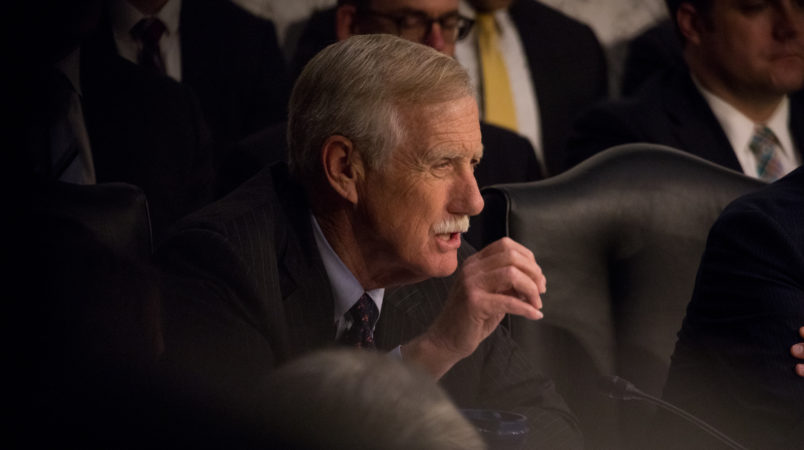 Sen. Angus King (I-ME), questioned former FBI Director James Comey during his testimony in front of the Senate Intelligence Committee, on his past relationship with President Donald Trump, and his role in the Russian interference investigation, in the Senate Hart building on Capitol Hill, on Thursday, June 8, 2017. (Photo by Cheriss May) (Photo by Cheriss May/NurPhoto)